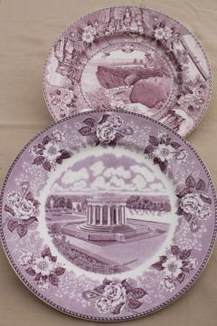 vintage lavender purple transferware print souvenir plates, old English Staffordshire china