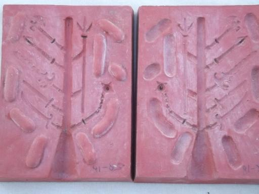 vintage lead toy soldier molds, medieval knights mold lot