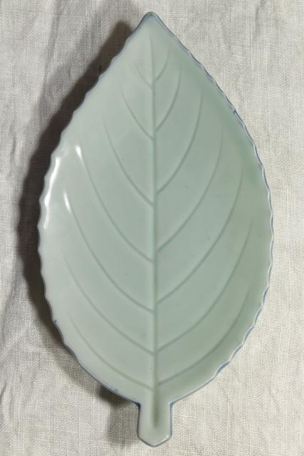 vintage leaf shaped dishes or side plates, celadon pottery leaves, duck egg green China chop mark