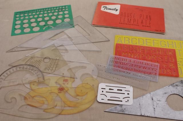 vintage letter stencils, sign lettering & graphic art drafting tools, curves & triangles