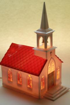 vintage lighted plastic Christmas church light up decoration for holiday village putz