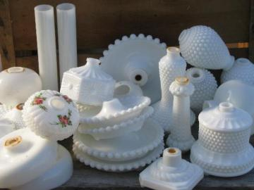 vintage lighting lot milk glass light parts, boudoir lamp bodies, bases