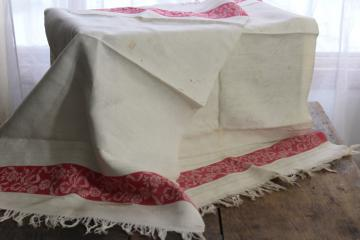 vintage linen damask fabric, antique bath or kitchen towels w/ turkey red woven borders