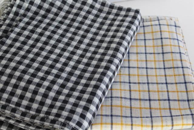 vintage linen fabric, black gingham checked material, tattersall blue & mustard gold