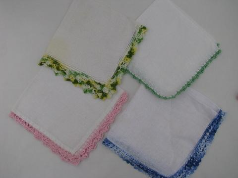 Crocheting And Tatting : ... linen handkerchiefs lot, handmade lace edging, crochet and tatting