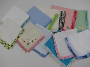 vintage linen handkerchiefs lot, handmade lace edging, crochet and tatting