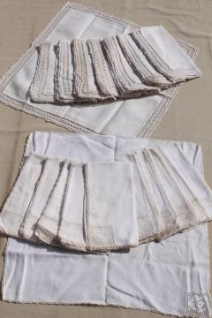 vintage linen napkins w/ lace & crochet edgings, cloth napkins elegant farmhouse style