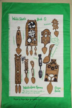 vintage linen tea towel w/ Welsh carved wood spoons print, souvenir of Wales
