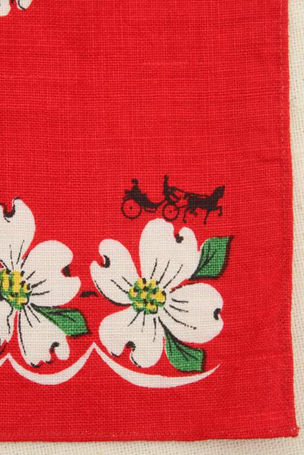 vintage linen tea towel, dogwood and butterfly print on red kitchen towel