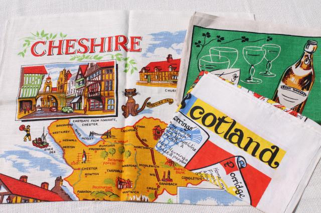 vintage linen tea towels, souvenirs of Cheshire, Ireland, Scotland w/ recipe or map prints