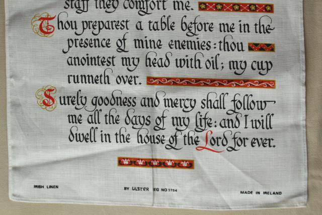 vintage linen towel wall hanging, Lord's Prayer print 23rd psalm