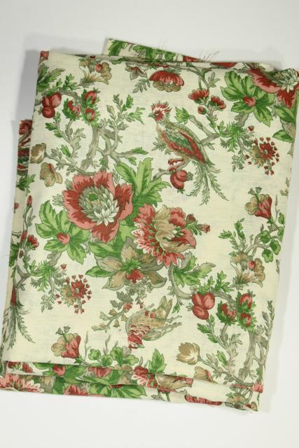 vintage linen weave cotton decorator fabric, Chinese peonies & pheasants floral print