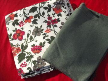 vintage linen weave cotton decorator fabric, jacobean crewel work floral print