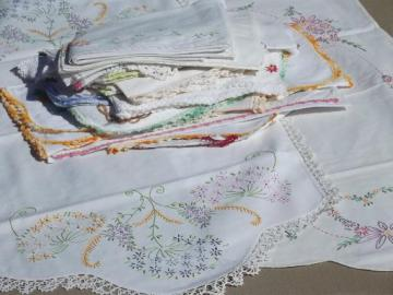 vintage linens lot, embroidered table runners w/ crochet lace edging