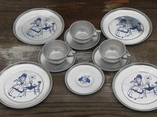 & vintage litho print aluminum metal doll dishes childu0027s toy dish set