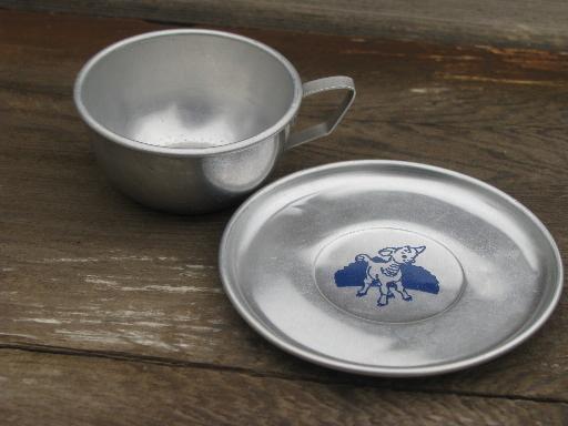 Vintage Litho Print Aluminum Metal Doll Dishes Child S