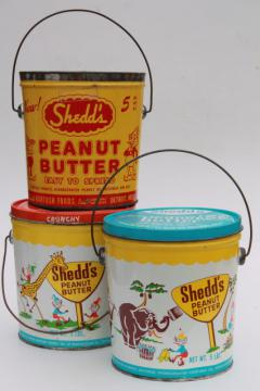 vintage litho print tin can pails, Shedd's Peanut Butter pail collection, sand bucket size