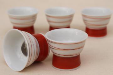 vintage lithophane porcelain sake cups, Japan Geisha girl under bubble glass