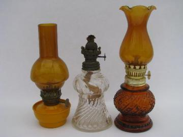 Vintage Little Glass Oil Lamps W/ Shades, Amber Gold Mini Lamp Lot
