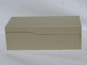 vintage long wood dovetailed recipe card file box, old white paint