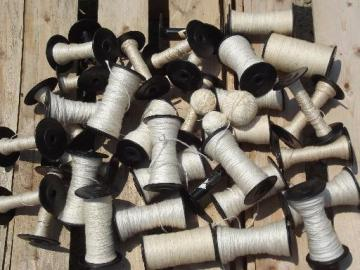 vintage loom shuttle weaving bobbins, old black spools w/ heavy thread