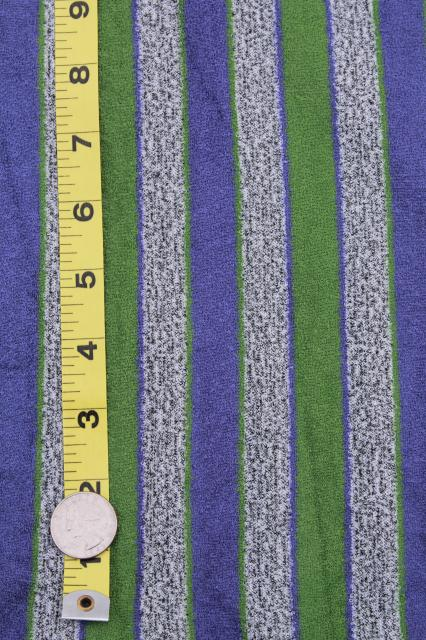 vintage looped poly velour fabric, retro striped grey tweed, violet blue & olive green
