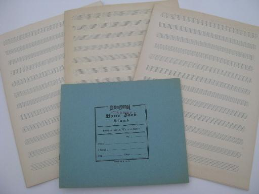 vintage lot for crafts / scrapbooks, lined music staff score paper and old blank books