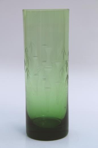 Vintage Lucky Bamboo Vase Green Glass Vase W Wheel Cut Etched Bamboo