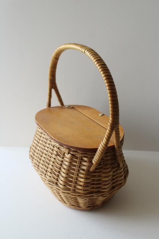 vintage lunch box, little wicker picnic hamper w/ hinged wooden lid, sewing basket?