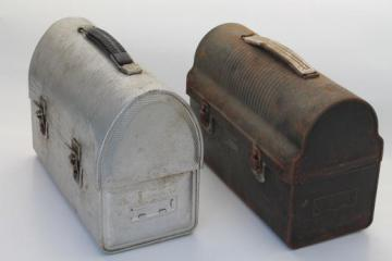vintage lunch pails, workman's lunch boxes, dome topped metal lunchbox lot