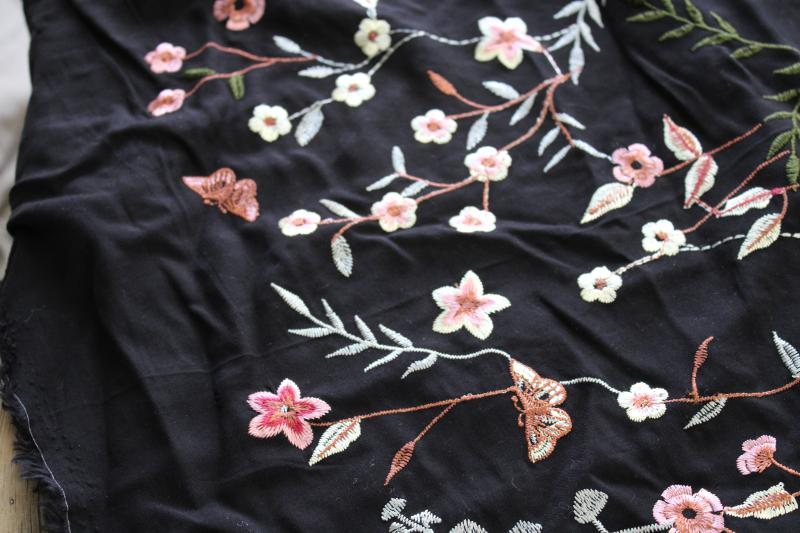 vintage machine embroidered rayon fabric, silky thread floral pattern on black