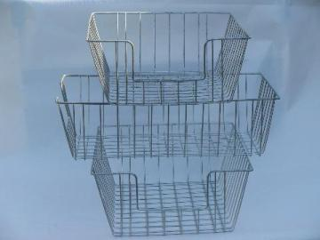 vintage machine-age industrial wire paper trays desk in/out baskets