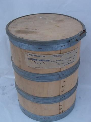 Vintage Machine Age Industrial Wood Storage Barrel Or Parts Bin