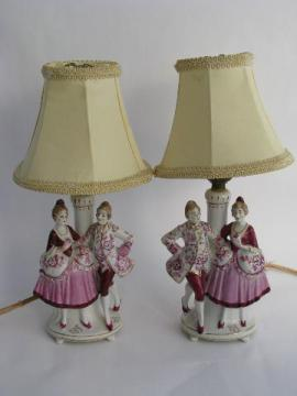 vintage made in Japan figural china boudoir or vanity lamps, french couple