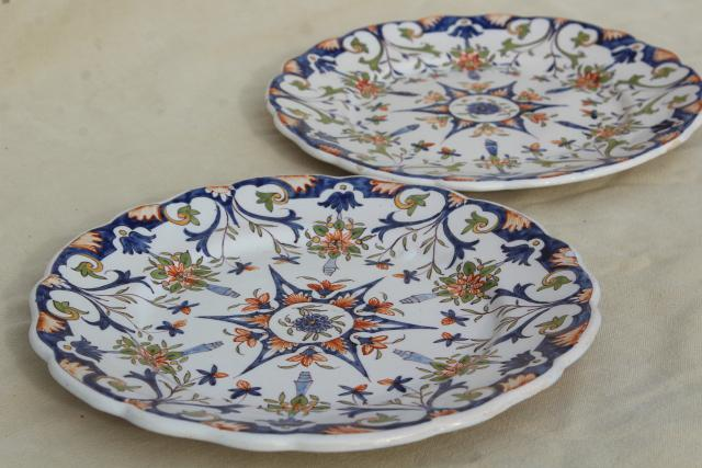 & vintage majolica pottery hand painted plates Portugal or Ginori Italy?