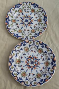 vintage majolica pottery hand painted plates, Portugal or Ginori Italy?