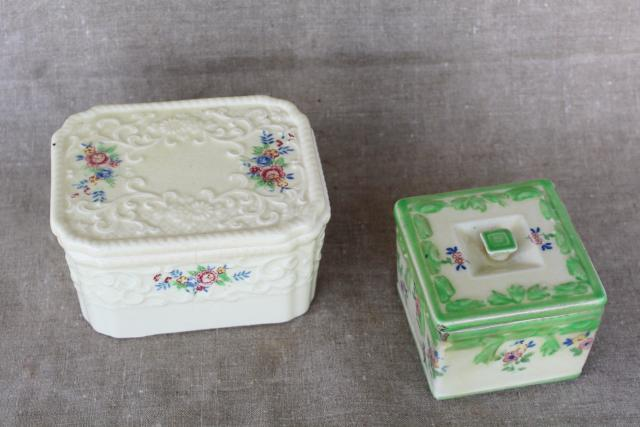 vintage majolica style ceramic boxes or fridge dishes, hand painted made in Japan