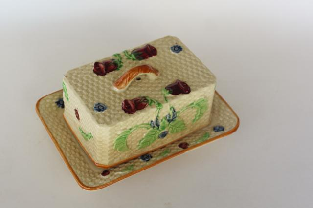 vintage majolica style covered butter dish, ceramic basket weave w/ flowers hand painted Japan