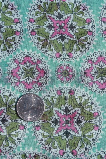 Vintage Mandala Border Print Fabric Fine Light Pure