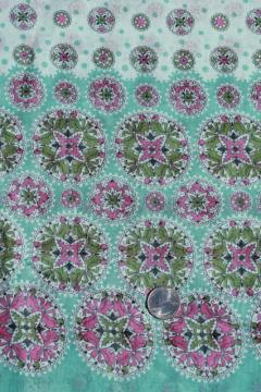 vintage mandala border print fabric, fine light pure cotton voile or lawn