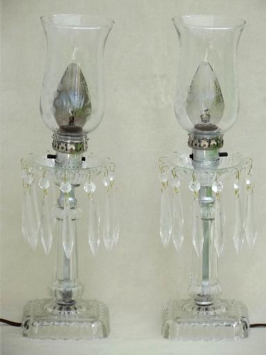 Vintage Mantle Lamps W/ Crystal Prisms, Vintage Pressed Glass Mantel Lamp  Pair