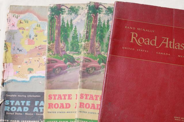 vintage maps lot, 40s & 50s road map atlas books, large map ... on