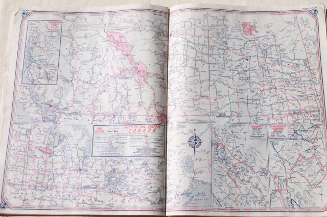 vintage maps lot, 40s & 50s road map atlas books, large map pages for wall paper etc.