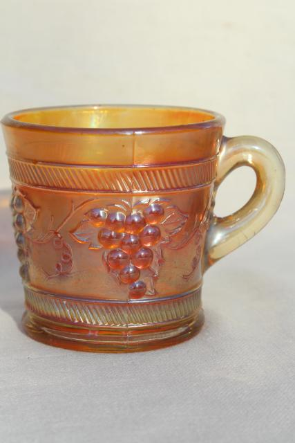 vintage marigold carnival glass, Dugan grapes pattern mug or child's cup