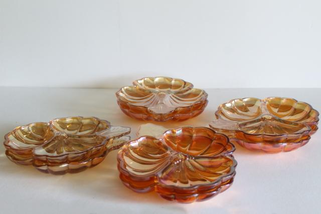 vintage marigold carnival glass pansy flower plates, summer fall rustic wedding decor
