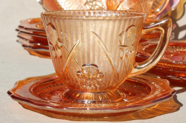 Vintage Marigold Iridescent Carnival Glass Dishes Set Iris