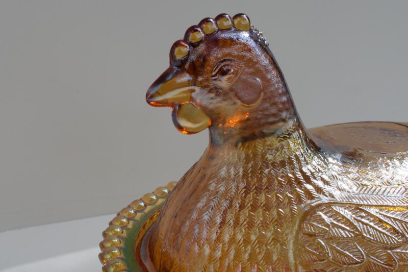 vintage marigold iridescent glass hen on nest covered dish or trinket box, 1980s Indiana glass