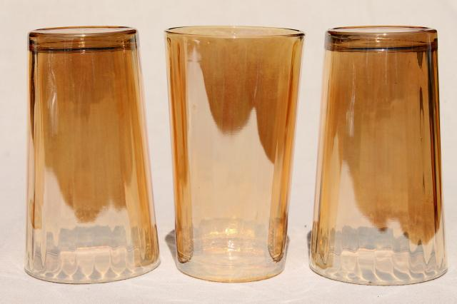 vintage marigold iridescent glass tumblers, Jeannette hex optic pattern drinking glasses