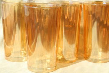 vintage marigold iridescent glass tumblers, paneled optic rib pattern drinking glasses