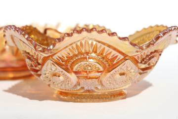 vintage marigold iridescent luster carnival glass bowl, twins pattern Imperial